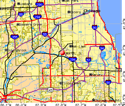 Worth, IL map
