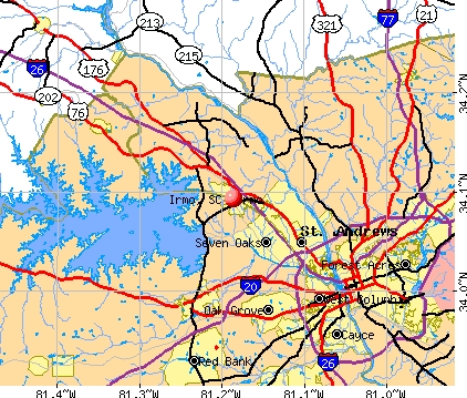 Irmo, SC map