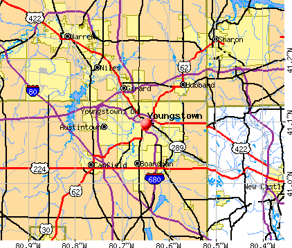 Youngstown, OH map