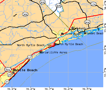 North Myrtle Beach, SC map