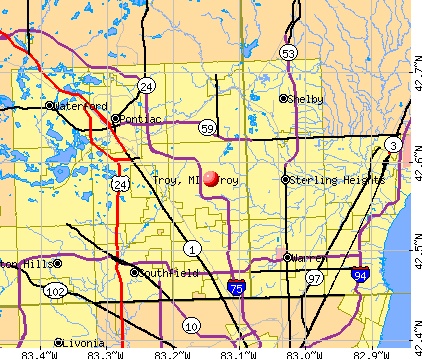 Troy, MI map