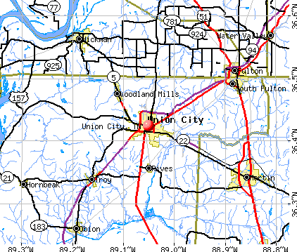 Union City, TN map