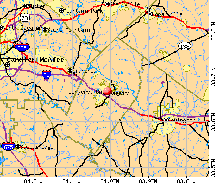 Conyers, GA map