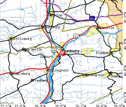 Sunbury, PA map