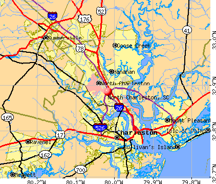 North Charleston, SC map