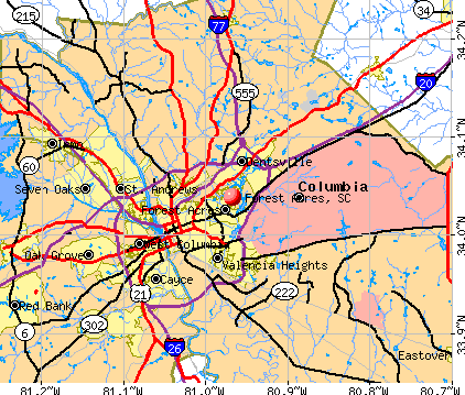 Forest Acres, SC map