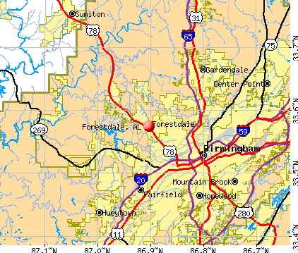 Forestdale, AL map