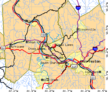 Cross Lanes, WV map