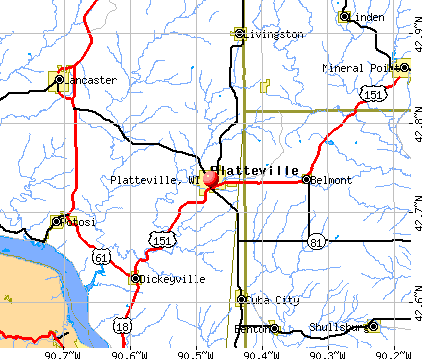 Platteville, WI map