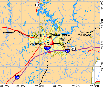 Tuscaloosa, AL map