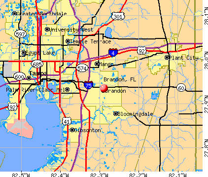 Brandon, FL map