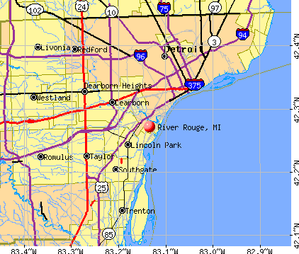 River Rouge, MI map