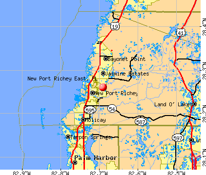 New Port Richey East, FL map