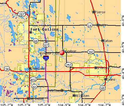 Windsor, CO map