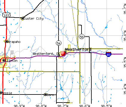 Weatherford, OK map