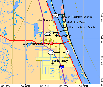 West Melbourne, FL map