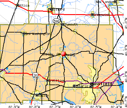 Shelby, OH map