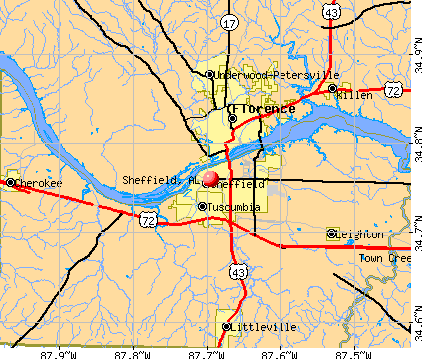 Sheffield, AL map