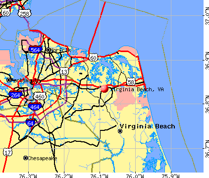 Virginia Beach, VA map