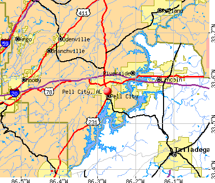 Pell City, AL map