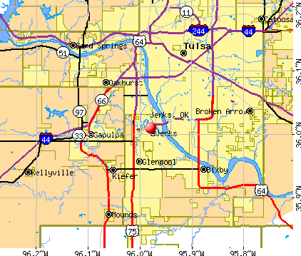 Jenks, OK map