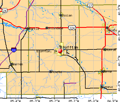 Bluffton, IN map