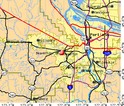 Beaverton, OR map