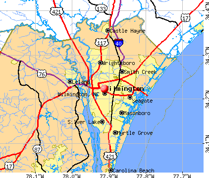 Wilmington, NC map