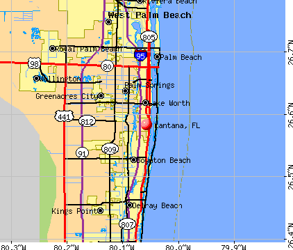 Lantana, FL map