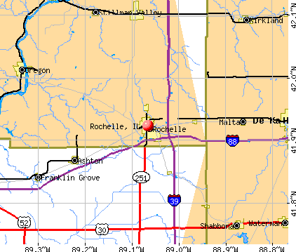 Rochelle, IL map