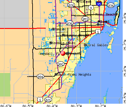 Kendall, FL map