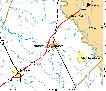 Wharton, TX map