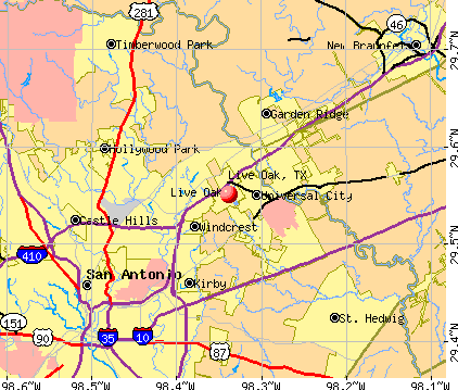 Live Oak, TX map