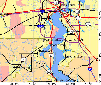 Orange Park, FL map