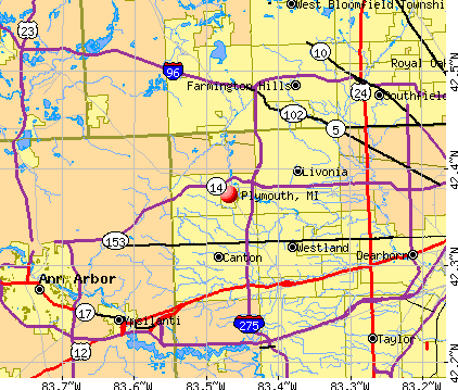 Plymouth, MI map