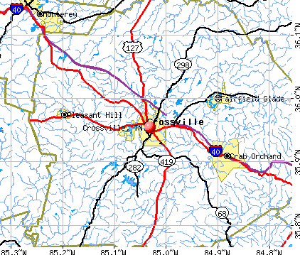 Crossville, TN map