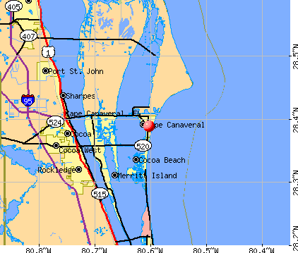 Cape Canaveral, FL map