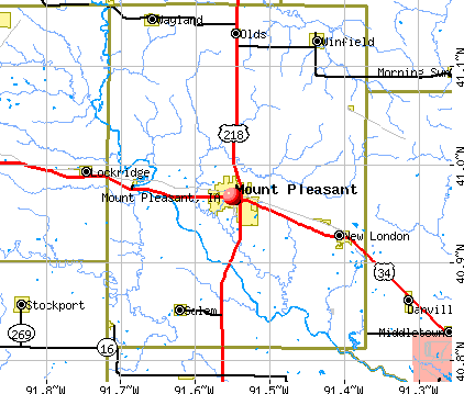 Mount Pleasant, IA map