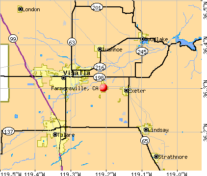 Farmersville, CA map
