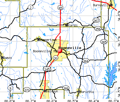 Booneville, MS map