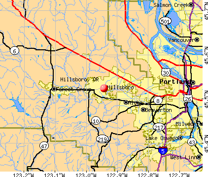 Hillsboro, OR map