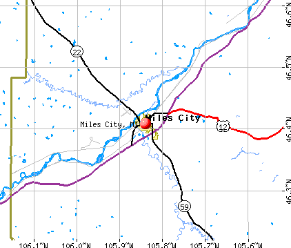 Miles City, MT map