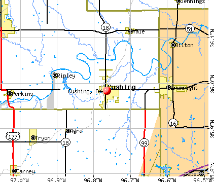 Cushing, OK map
