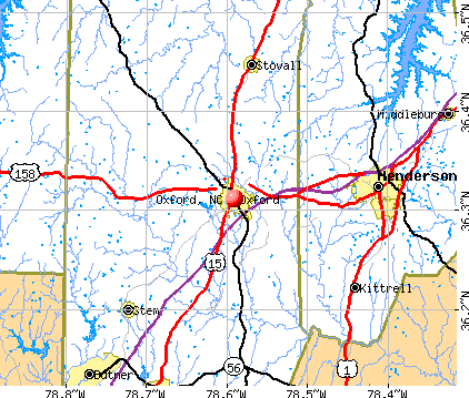 Oxford, NC map