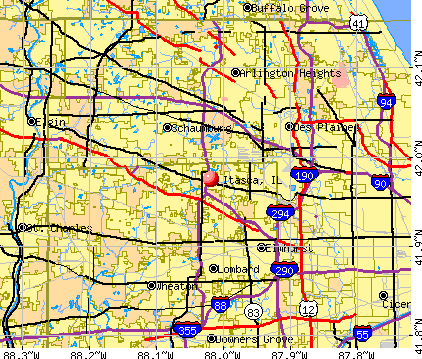 Itasca, IL map
