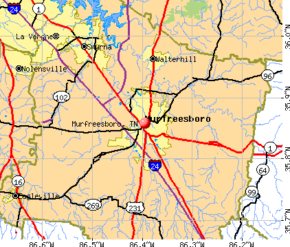 Murfreesboro, TN map