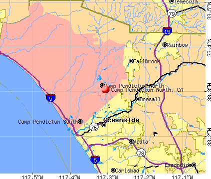 Camp Pendleton North, CA map