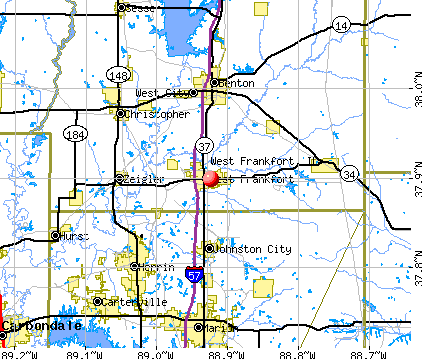 West Frankfort, IL map