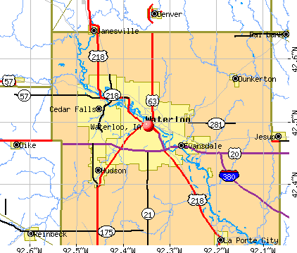 Waterloo, IA map