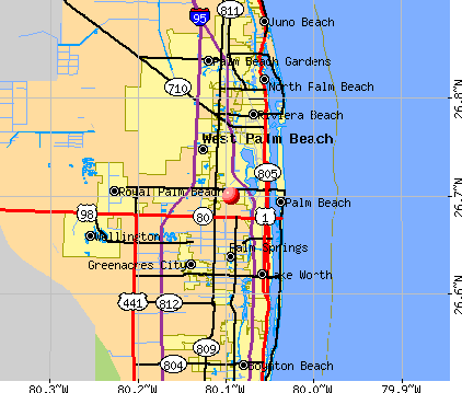 Westgate-Belvedere Homes, FL map